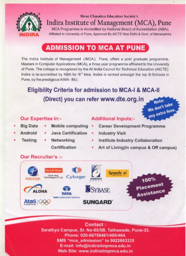 ADMISSIONS TO MCA AT PUNE