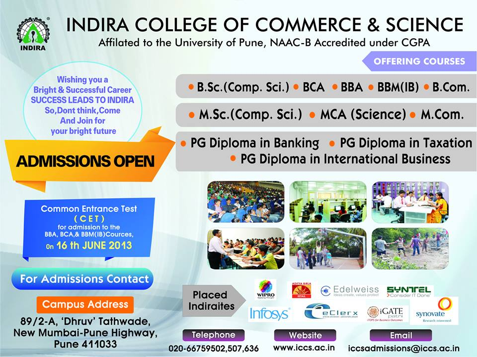 Admissions Open For 2013-14 Batch ( Indira College of Commerce & Science )