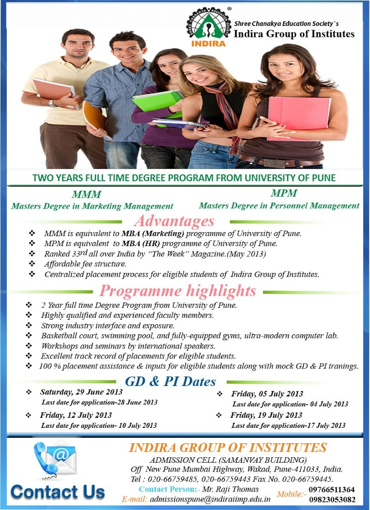 Admissions Open for 2013-15 Batch in MMM and MPM